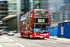 Doubledecker bus. Intentionally motion blurred image of a double decker bus in London Stock Photo