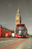 Doubledecker bus in front of Big Ben in London, UK Stock Photo