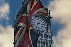 Doubleexposure of big ben and the union jack flag Stock Photography