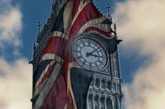 Doubleexposure of big ben and the union jack flag Stock Photography