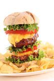 Doublehamburger isolated on grey Stock Photo