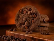 Doubles biscuits de chocolat Photo libre de droits