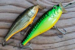 Doubles fausses victimes pour la pêche Image libre de droits