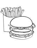 Doubles hamburger et fritures ornés Photos libres de droits