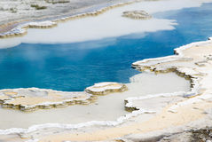 Doublet pool. Abstract patterns in the thermal hot springs in Yellowstone National Park Stock Photography