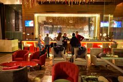 DoubleTree by Hilton. MOSCOW, RUSSIA - MARCH 29, 2015: interior of DoubleTree by Hilton. DoubleTree by Hilton is an American hotel chain and a part of Hilton Royalty Free Stock Image