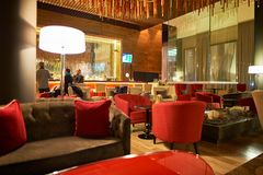 DoubleTree by Hilton. MOSCOW, RUSSIA - MARCH 29, 2015: interior of DoubleTree by Hilton. DoubleTree by Hilton is an American hotel chain and a part of Hilton Stock Images