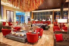 DoubleTree by Hilton. MOSCOW, RUSSIA - MARCH 29, 2015: interior of DoubleTree by Hilton. DoubleTree by Hilton is an American hotel chain and a part of Hilton Stock Photos