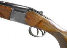 Doublez le fusil de chasse barreled d'isolement au-dessus d'un fond blanc image stock