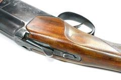 Doublez le fusil de chasse barreled d'isolement au-dessus d'un fond blanc photographie stock