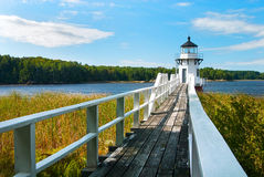 Walkway to Lighthouse Near Boothbay, Maine Royalty Free Stock Photo