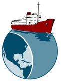Doublure d'océan avec le globe Photographie stock libre de droits