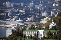 Doublure d'océan de la Reine Elizabeth à Yalta, Ukraine Photographie stock libre de droits