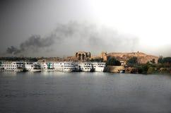 Doublures de vitesse normale sur le fleuve de Nil, Egypte images libres de droits