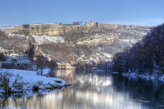 Doubs and Citadelle of Besancon stock photo