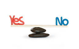 Doubt. Plasticine words YES and NO balancing on seesaw. Isolated on white with clipping path Stock Photography