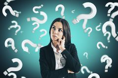 Doubt and ask concept. Portrait of attractive young european businesswoman with question marks. Doubt and ask concept stock illustration