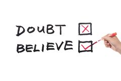 Doubt or believe words Stock Image