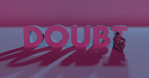 Doubt - 3d render lettering near low poly man illustration. Red Doubt lettering text next to conflicted low poly style man, 3d render illustration Royalty Free Stock Images