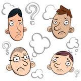 Doubt face doodle. Cartoon doubt face doodle set Royalty Free Stock Photos