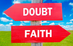 Doubt or Faith. Choice showing strategy change or dilemmas Royalty Free Stock Photography