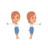 Doubt and Funny Character Consultant Girl leaned against the wall Royalty Free Stock Images