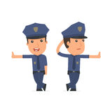 Doubt and Funny Character Officer leaned against the wall and sh Royalty Free Stock Photo