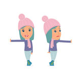 Doubt and Funny Character Winter Girl leaned against the wall and shares information Stock Image