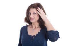 Free Doubtful And Pensive Mature Woman In Blue Isolated On White. Royalty Free Stock Photo - 41979655