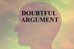Doubtful Argument - mental situation concept. Render illustration of DOUBTFUL ARGUMENT title on head silhouette, with cloudy sky as a background Royalty Free Stock Photos