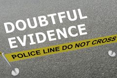 Doubtful Evidence concept. 3D illustration of DOUBTFUL EVIDENCE title on the ground in a police arena Royalty Free Stock Photo