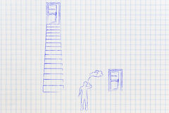 Doubtful man choosing between Hard work vs easy path with door u. Doubtful man choosing between door leading to hard work up a set of stairs and Easy Path door Royalty Free Stock Image