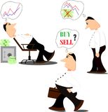 Doubtful stock exchange market trader analyzing index candlestick graph deciding to buy or sell shares or equity. royalty free illustration