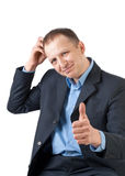 Doubting businessman Stock Photo