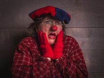A doubting clown with a facial expression of the unknowing. Clown with glasses, plaid shirt and beret with facial expressions on the face Stock Image