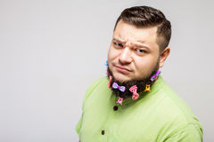Doubting man with hair clips Royalty Free Stock Photography
