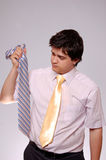 Doubting men with tie. Royalty Free Stock Images