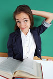 Doubting student remember something. Photo adult student, creative concept with Back to school Stock Photography
