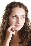 Doubts. Thoughtful pretty girl with doubt expression closeup Royalty Free Stock Photos