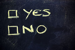 Doubts: choice between yes or no. Chalk writings on blackboard, choice between yes or no Royalty Free Stock Images