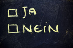 Doubts: choice between yes or no. Chalk writings on blackboard, choice between yes or no (german Stock Images