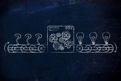 From doubts (question marks) to ideas, factory illustration Royalty Free Stock Photo