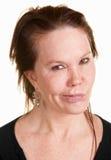 Doubtul kvinna över vit bakgrund fotografering för bildbyråer