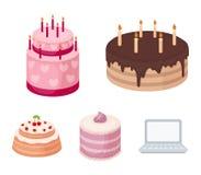 Douceur, dessert, crème, mélasse Les icônes réglées de collection de pays de gâteaux dans le style de bande dessinée dirigent l'i Images stock