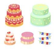 Douceur, dessert, crème, mélasse Les icônes réglées de collection de pays de gâteaux dans le style de bande dessinée dirigent l'i Photo libre de droits