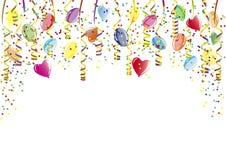 Douche van confettien, ballons en document wimpel Royalty-vrije Stock Foto's