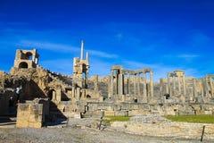 Dougga Roman City Ruins Medina, Tunisien arkivfoton