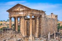 Dougga, Roman Ruins: Um local do patrimônio mundial do Unesco em Tunísia fotos de stock