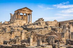 Dougga, Roman Ruins: A Unesco World Heritage Site in Tunisia Royalty Free Stock Image