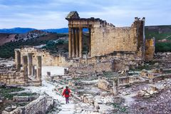 Dougga, Tunisia, Tunis - Ancient Roman city. Of Dougga, a UNESCO World Heritage Site in northern Tunisia Royalty Free Stock Image
